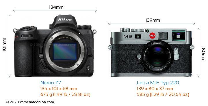 Nikon Z7 vs Leica M-E Typ 220 Camera Size Comparison - Front View