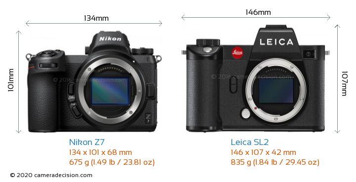 Nikon Z7 vs Leica SL2 Camera Size Comparison - Front View