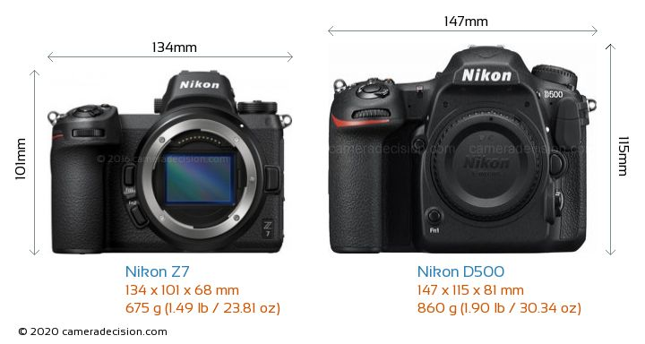 Nikon Z7 vs Nikon D500 Camera Size Comparison - Front View