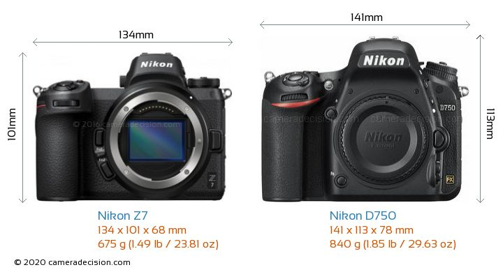 Nikon Z 7 vs Nikon D750 Camera Size Comparison - Front View