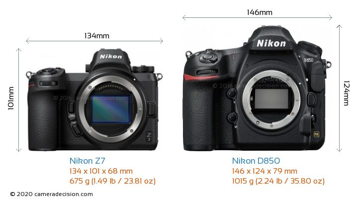 Nikon Z7 vs Nikon D850 Camera Size Comparison - Front View