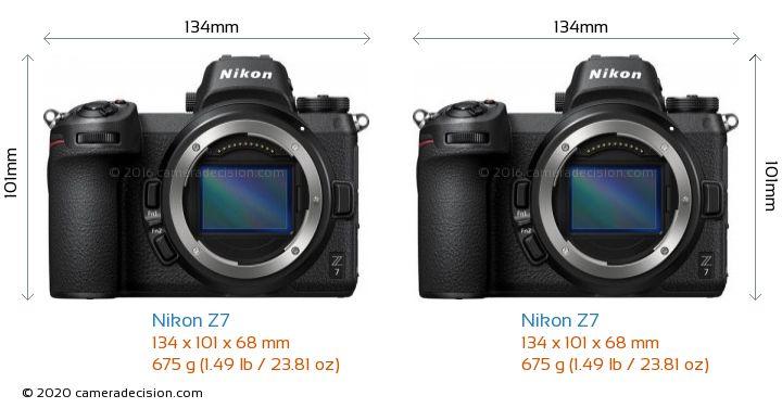 Nikon Z7 vs Nikon Z7 Camera Size Comparison - Front View