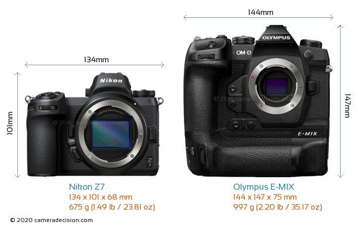 Nikon Z 7 vs Olympus E-M1X Camera Size Comparison - Front View
