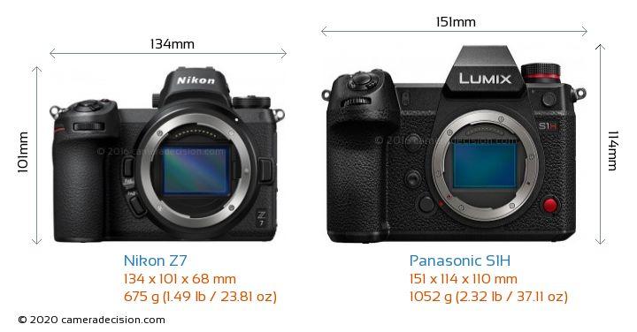 Nikon Z7 vs Panasonic S1H Camera Size Comparison - Front View