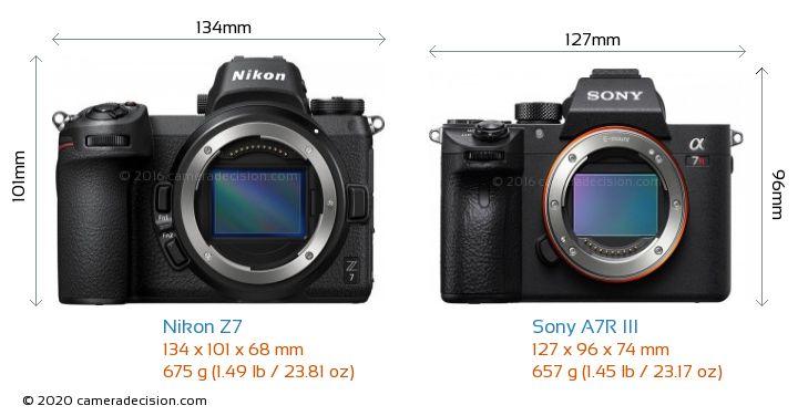 Nikon Z7 vs Sony A7R III Camera Size Comparison - Front View