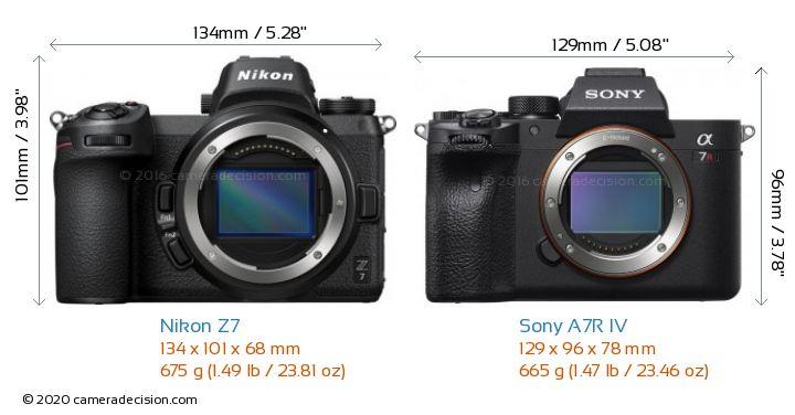 Nikon Z7 vs Sony A7R IV Camera Size Comparison - Front View