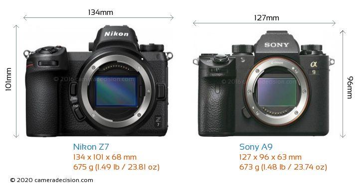 Nikon Z 7 vs Sony A9 Camera Size Comparison - Front View