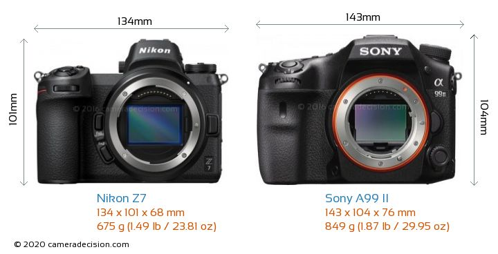 Nikon Z7 vs Sony A99 II Camera Size Comparison - Front View