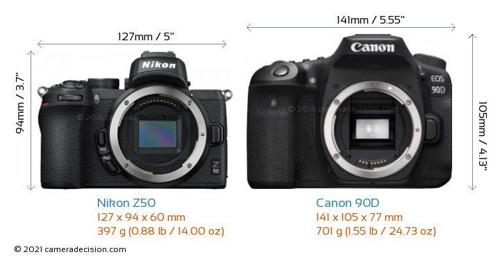 Nikon Z50 vs Canon 90D Camera Size Comparison - Front View