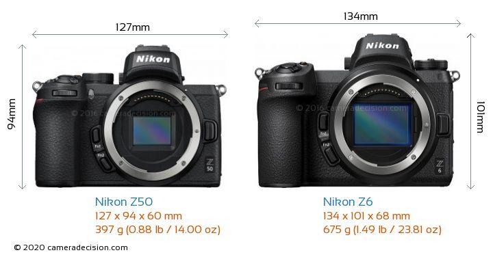 Nikon Z50 vs Nikon Z6 Camera Size Comparison - Front View