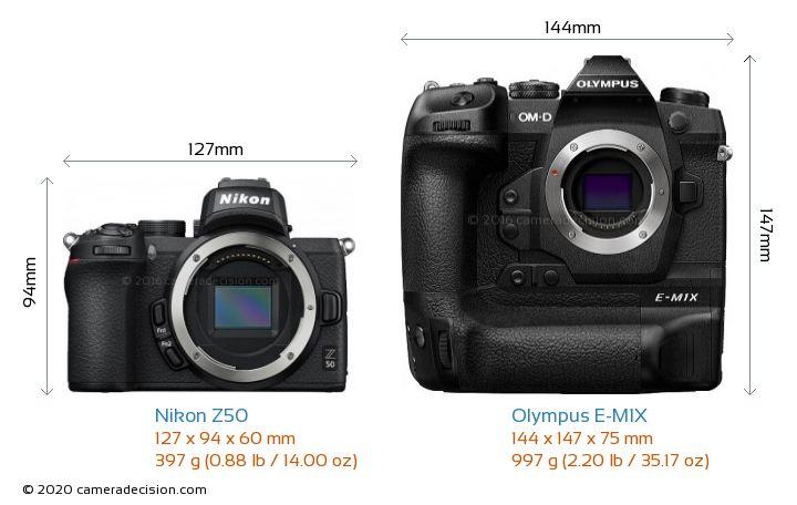 Nikon Z50 vs Olympus E-M1X Camera Size Comparison - Front View