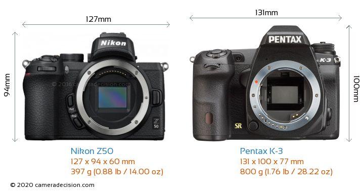 Nikon Z50 vs Pentax K-3 Camera Size Comparison - Front View