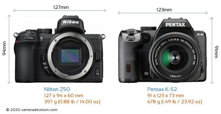 Nikon Z50 vs Pentax K-S2 Camera Size Comparison - Front View