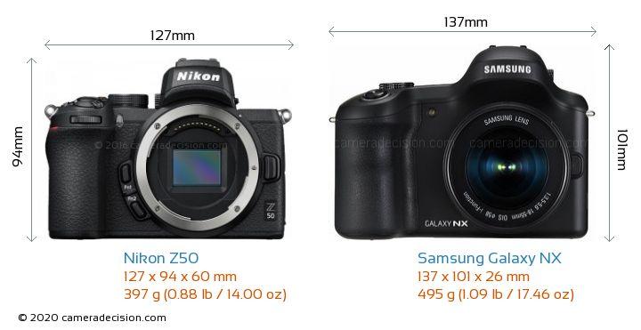 Nikon Z50 vs Samsung Galaxy NX Camera Size Comparison - Front View
