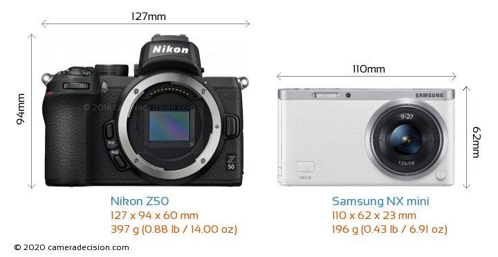Nikon Z50 vs Samsung NX mini Camera Size Comparison - Front View