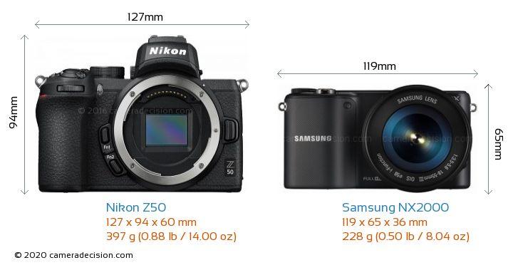 Nikon Z50 vs Samsung NX2000 Camera Size Comparison - Front View