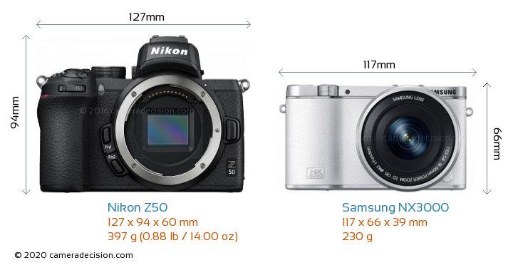 Nikon Z50 vs Samsung NX3000 Camera Size Comparison - Front View