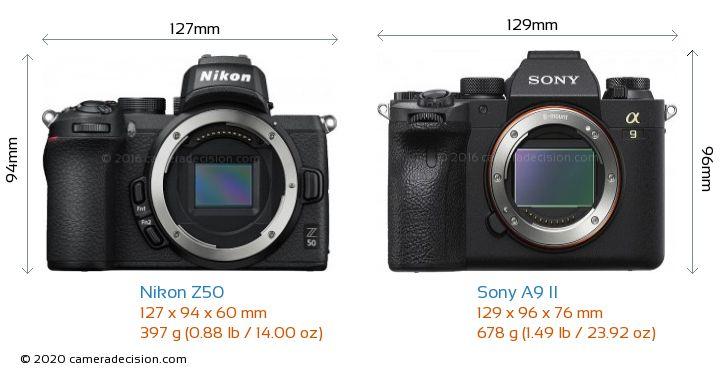 Nikon Z50 vs Sony A9 II Camera Size Comparison - Front View