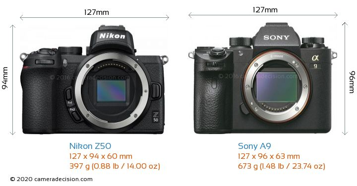 Nikon Z50 vs Sony A9 Camera Size Comparison - Front View