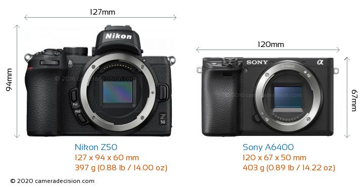 Nikon Z50 vs Sony A6400 Camera Size Comparison - Front View