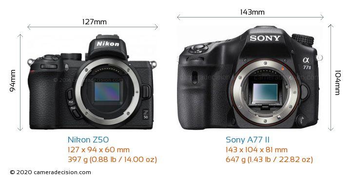 Nikon Z50 vs Sony A77 II Camera Size Comparison - Front View