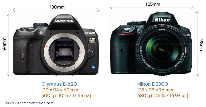 Olympus E-620 vs Nikon D5300 Camera Size Comparison - Front View
