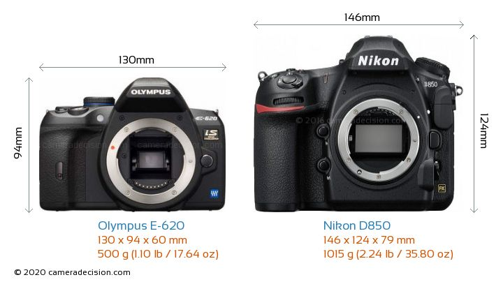 Olympus E-620 vs Nikon D850 Camera Size Comparison - Front View