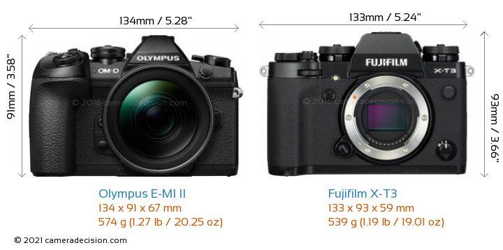 Olympus E-M1 II vs Fujifilm X-T3 Camera Size Comparison - Front View
