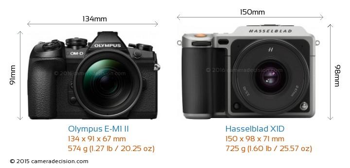 Olympus E-M1 II vs Hasselblad X1D Camera Size Comparison - Front View