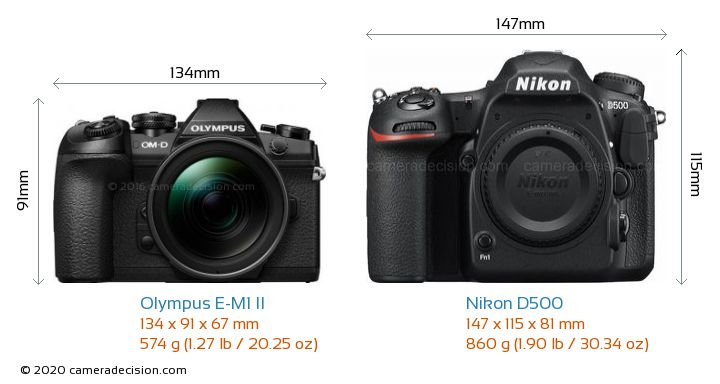 Olympus E-M1 II vs Nikon D500 Camera Size Comparison - Front View