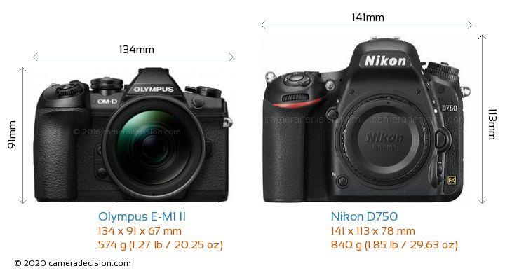 Olympus E-M1 II vs Nikon D750 Camera Size Comparison - Front View