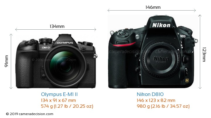 Olympus E-M1 II vs Nikon D810 Camera Size Comparison - Front View
