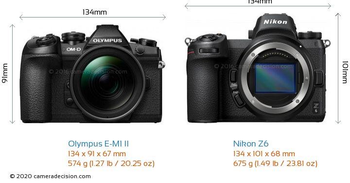 Olympus E-M1 II vs Nikon Z6 Camera Size Comparison - Front View