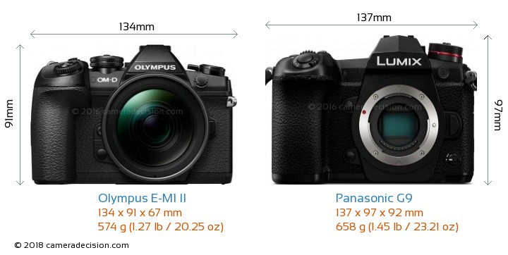 Olympus E-M1 II vs Panasonic G9 Camera Size Comparison - Front View