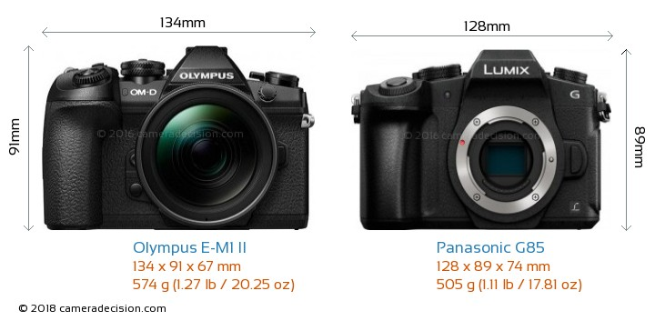 Olympus E-M1 II vs Panasonic G85 Camera Size Comparison - Front View