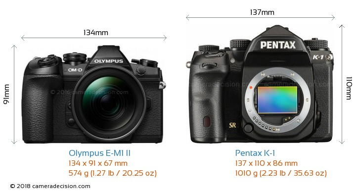 Olympus E-M1 II vs Pentax K-1 Camera Size Comparison - Front View