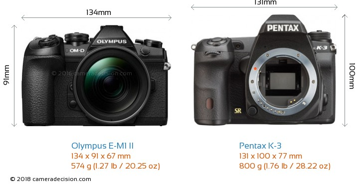 Olympus E-M1 II vs Pentax K-3 Camera Size Comparison - Front View