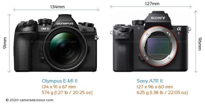 Olympus E-M1 II vs Sony A7R II Camera Size Comparison - Front View