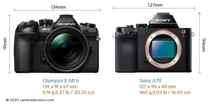 Olympus E-M1 II vs Sony A7R Camera Size Comparison - Front View