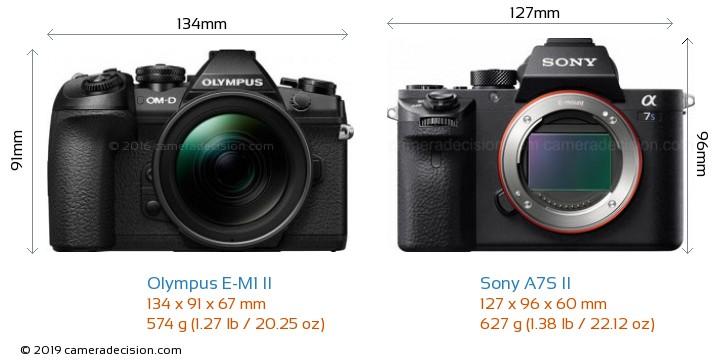 Olympus E-M1 II vs Sony A7S II Camera Size Comparison - Front View