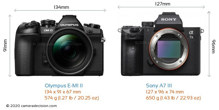 Olympus E-M1 II vs Sony A7 III Camera Size Comparison - Front View