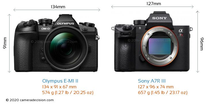 Olympus E-M1 II vs Sony A7R III Camera Size Comparison - Front View