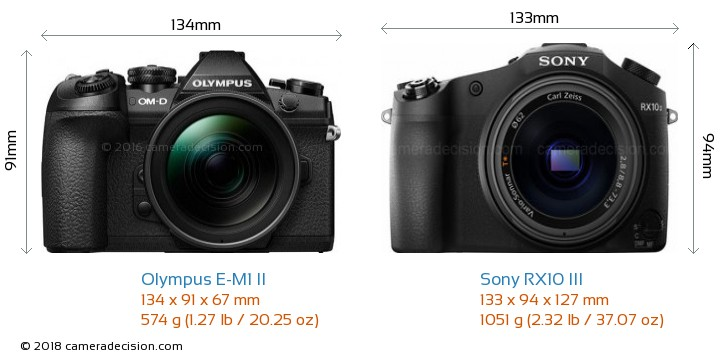 Olympus E-M1 II vs Sony RX10 III Camera Size Comparison - Front View