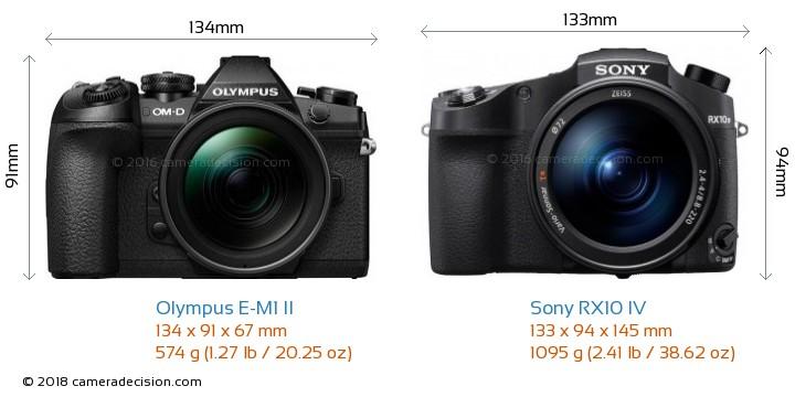 Olympus E-M1 II vs Sony RX10 IV Camera Size Comparison - Front View