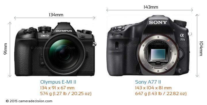 Olympus E-M1 II vs Sony A77 II Camera Size Comparison - Front View