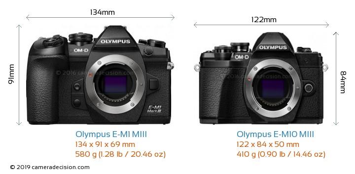 Olympus E-M1 MIII vs Olympus E-M10 MIII Camera Size Comparison - Front View