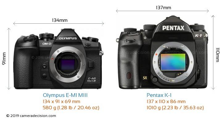 Olympus E-M1 MIII vs Pentax K-1 Camera Size Comparison - Front View