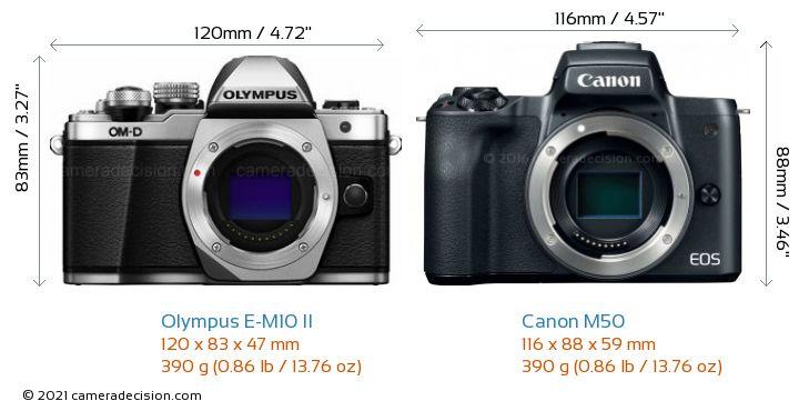 Olympus E-M10 II vs Canon M50 Camera Size Comparison - Front View