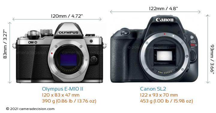 Olympus E-M10 II vs Canon SL2 Camera Size Comparison - Front View