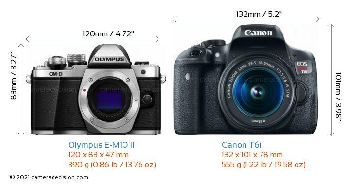 Olympus E-M10 II vs Canon T6i Camera Size Comparison - Front View